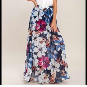 Lulu's Twilight Temptation Navy Floral Maxi Skirt